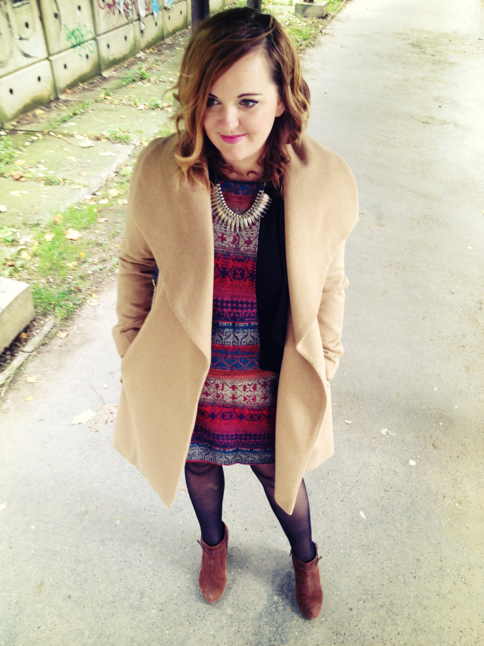 All Neutrals Camel Coat With Burgundy Dress Living On